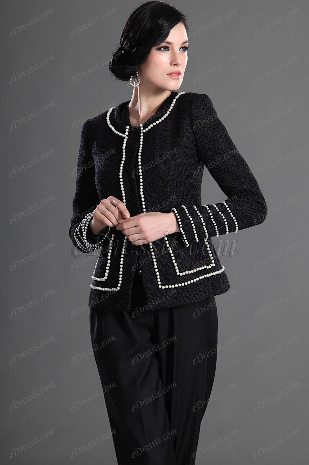 eDressit Elegant Black with Sleeves Wear to Work Suit (03122300)