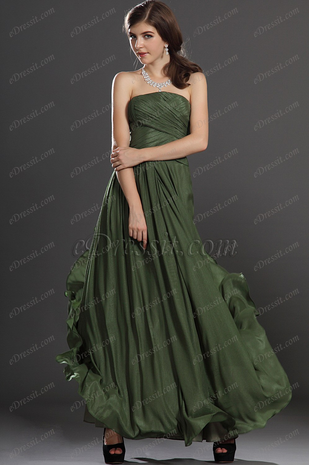 Clearance Sale! eDressit Green Strapless Evening Dress (00121455)