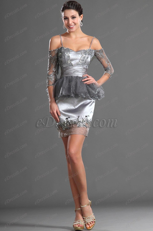 eDressit Wunderbar Grau Offen Schulter Cocktail Kleid Party Kleid (04125108)