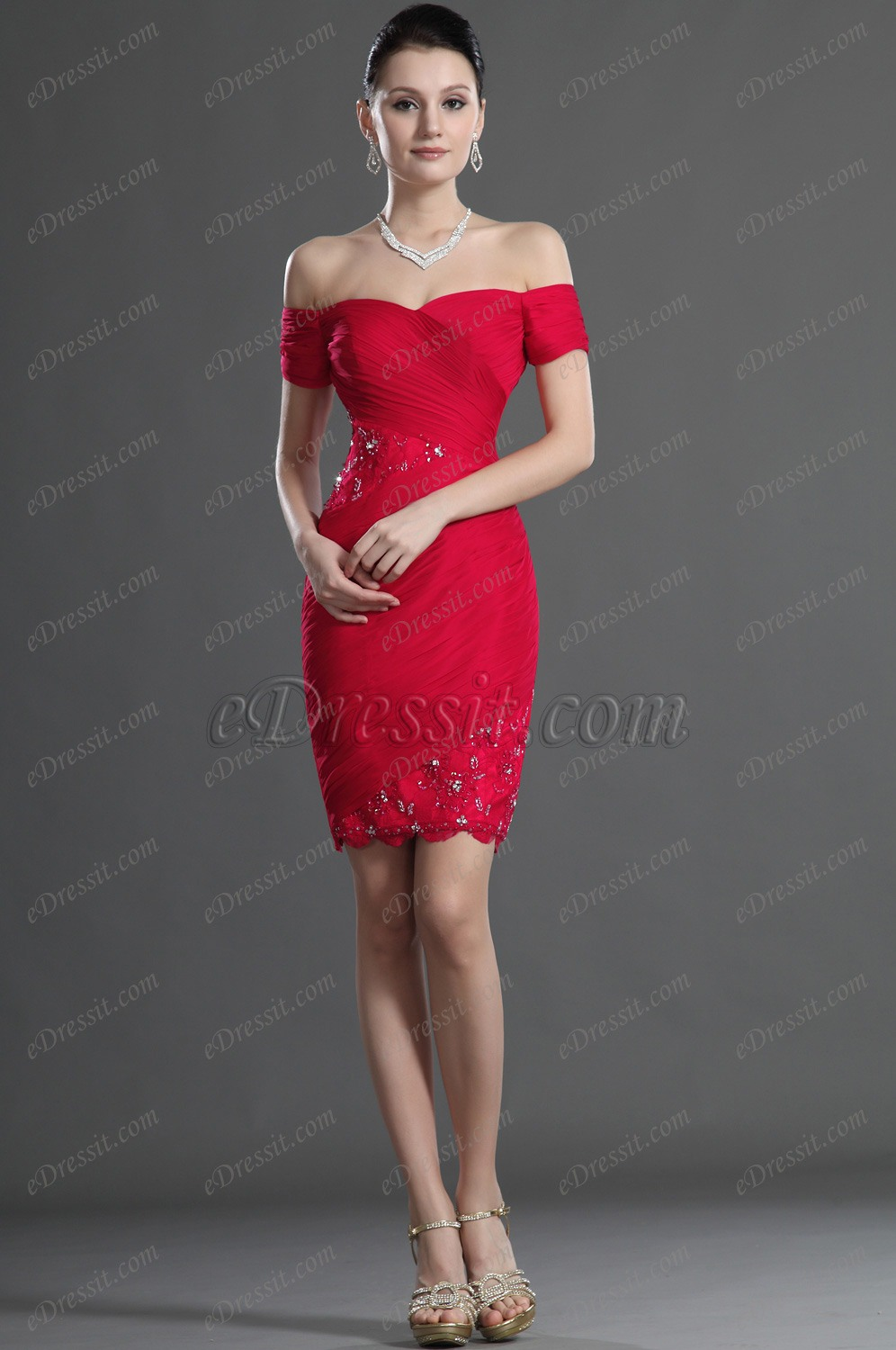 Edressit Red Off Shoulder Lace Cocktail Dress Party Dress