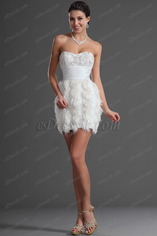 eDressit Lindo Blanco Sin Tirante Vestido de Cocktail Vestido de Fiesta (04126007)