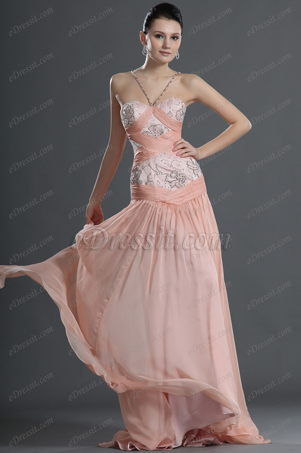 eDressit Fashion Pink Halter Evening Dress (00126601)