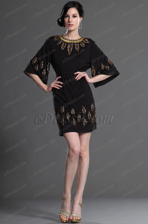 eDressit Elegant  Ärmeln Schwarz Party Kleid Arbeitskleid (03122100)