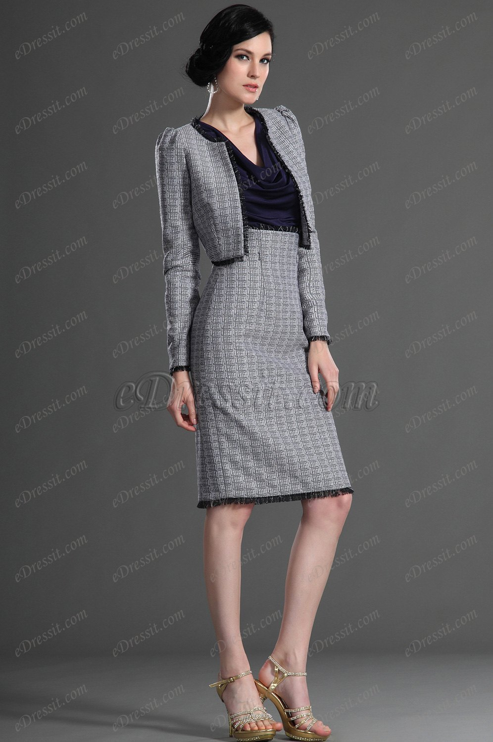 eDressit Long Sleeves Grey Day Dress Mother of the Bride Dress (26127008)