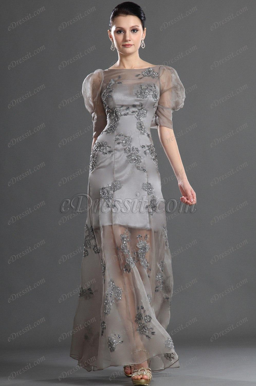 eDressit Elegant Sleeves Gray Evening Dress (02121008)