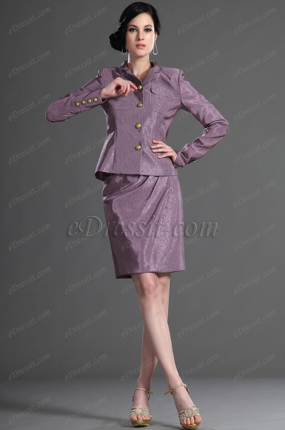 eDressit Long Sleeves Purple Day Dress Mother of the Bride Dress (26126806)