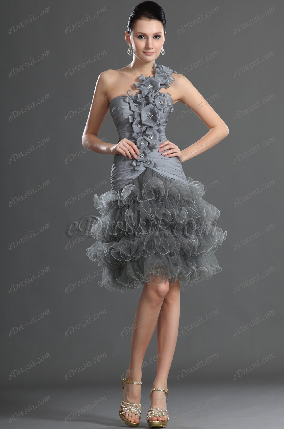 eDressit Stilvoll Lieblich Grau Ballkleid Cocktail Kleid (04123708)