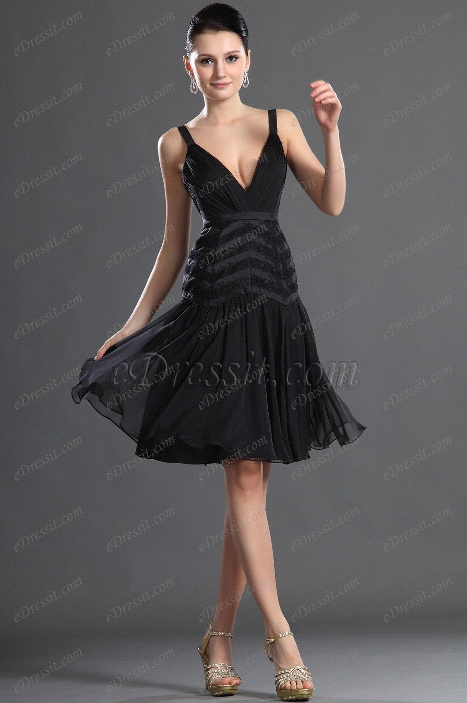 eDressit черное коктейльное платье с глубоким V-декольте (04123600)