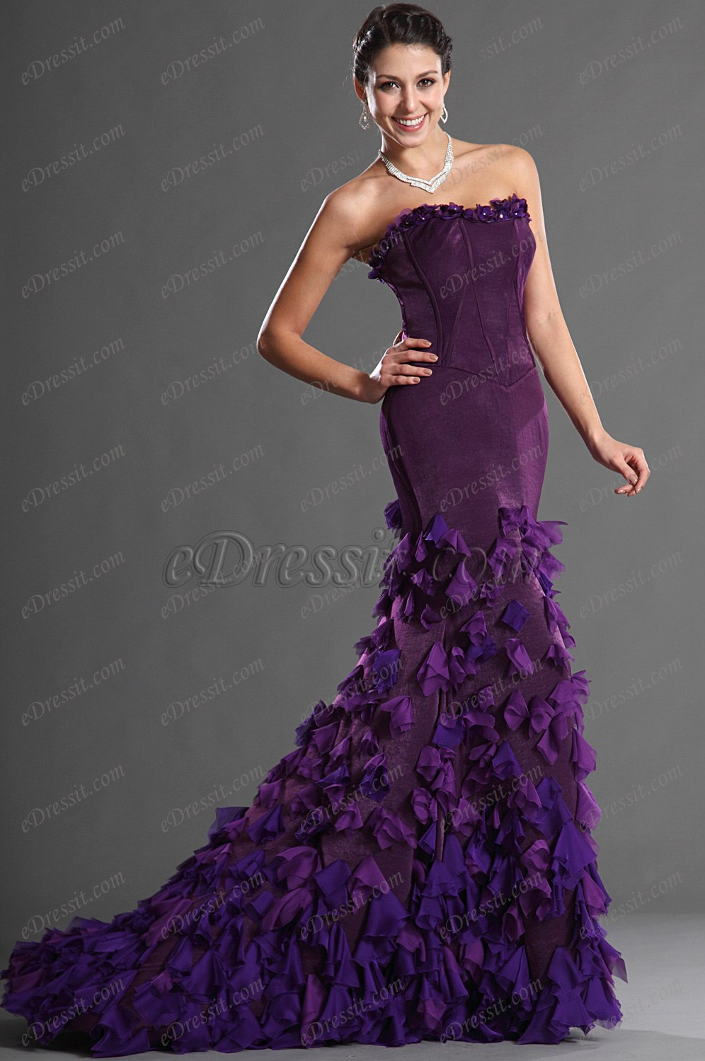 eDressit Purple Mermaid Style Strapless Prom Gown (02122506)