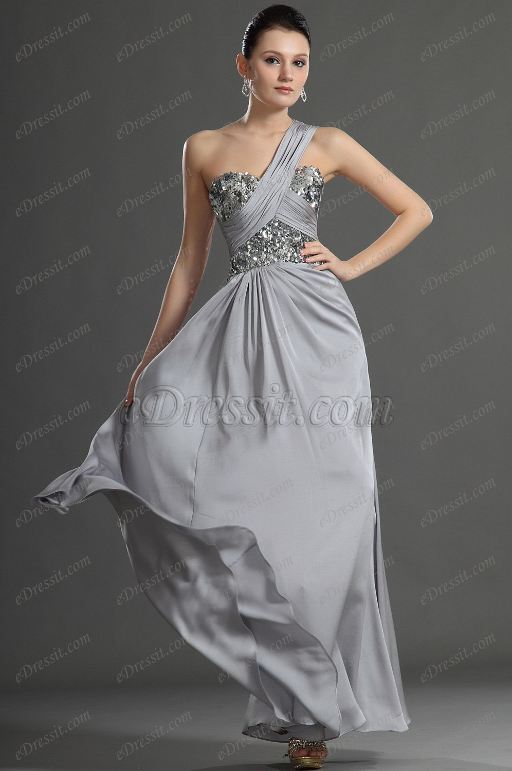 eDressit Glamouring One shoulder Grey Evening Dress (00127708)