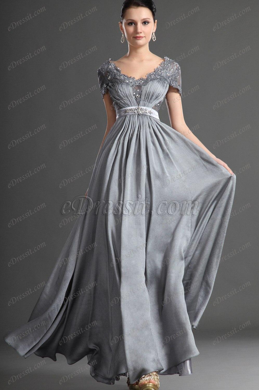 eDressit Nouveautés Fabulous Col en V Robe Grise de Soirée (26124508)