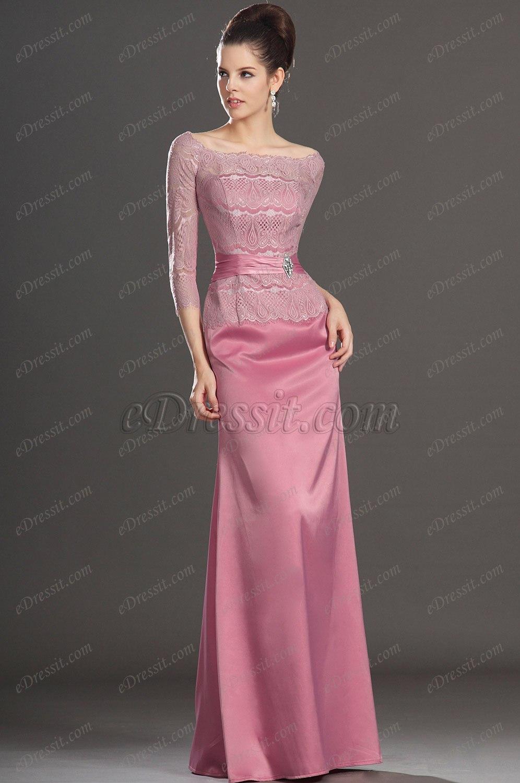 eDressit Nouveautés Charmante Manches Longues Rose Robe Mère de Mariée (26132401)
