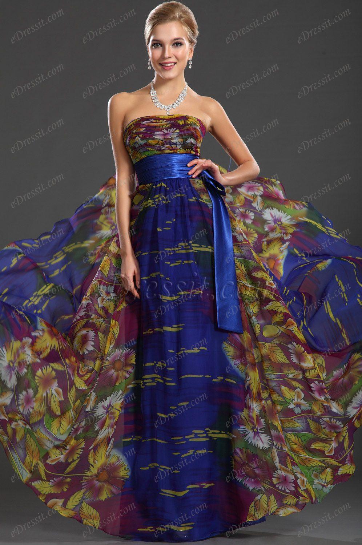 eDressit  Maravilloso Tela Imprimido Vestido de Noche Largo (00119268)
