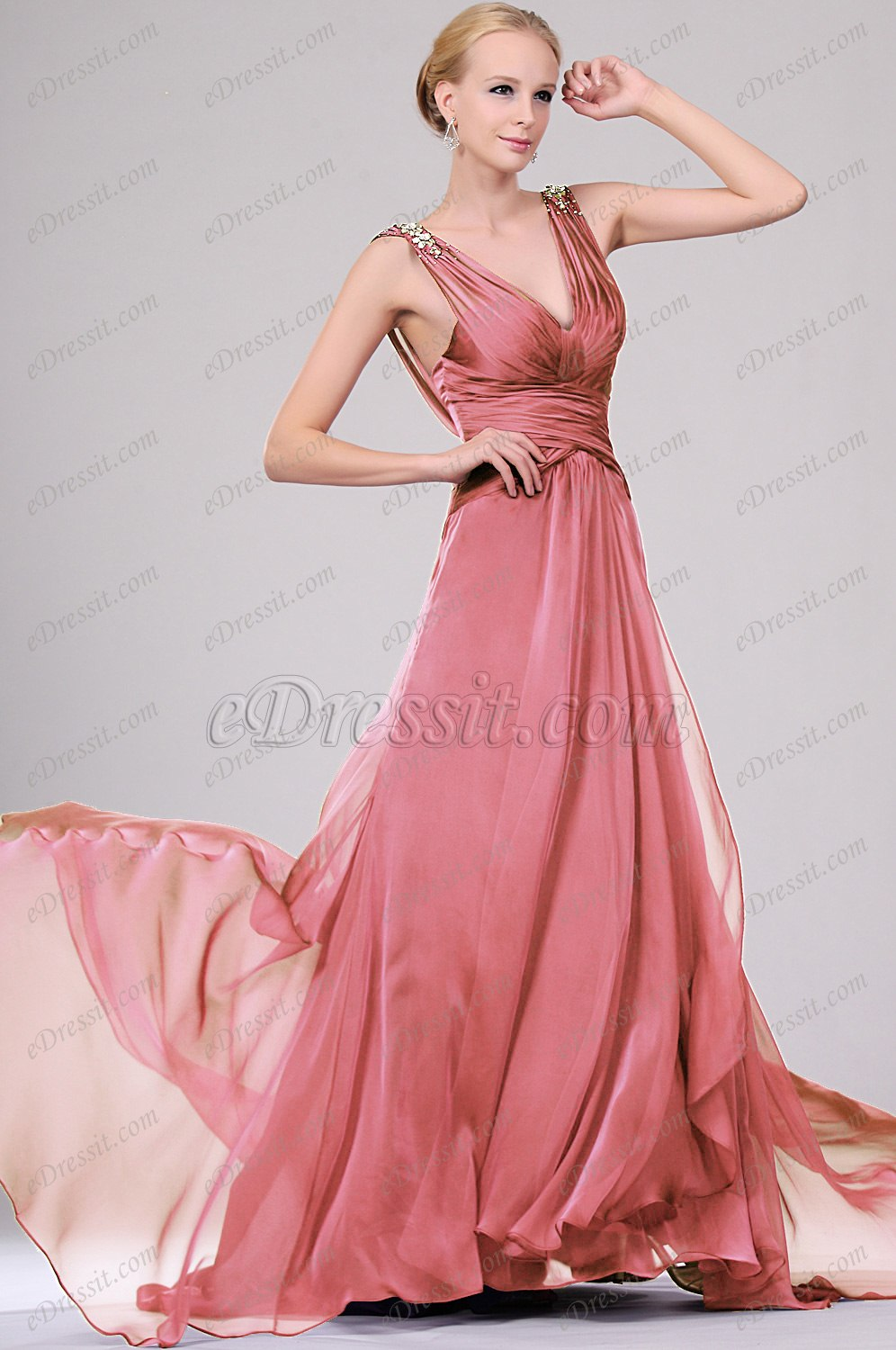 Clearance Sale !eDressit Sexy V-cut Beaded Evening Dress (00109406C)