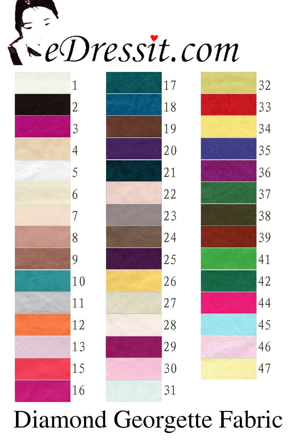 eDressit Diamond Georgette Color Chart (60130103)