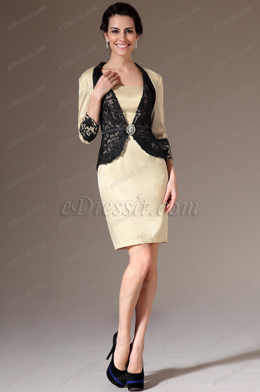 eDressit Beige Jacket 2 Piece Mother of the Bride Dress (26144414)
