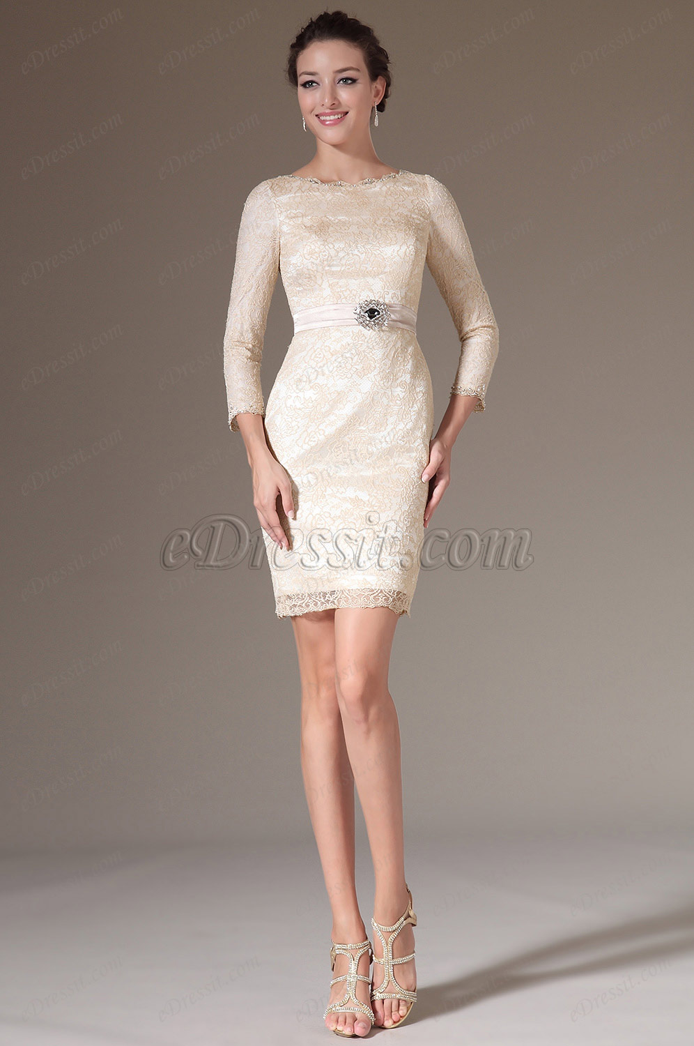 2014 New Simple Overlace Sleeves Mother of the Bride Dress 26144214 Mother Of The Mother Of The Bride Dresses With Scarf