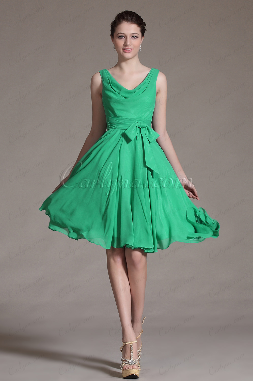 2014 Novedad Verde elegante Bowknot Vestido de Fiesta/coctel (C04134204)