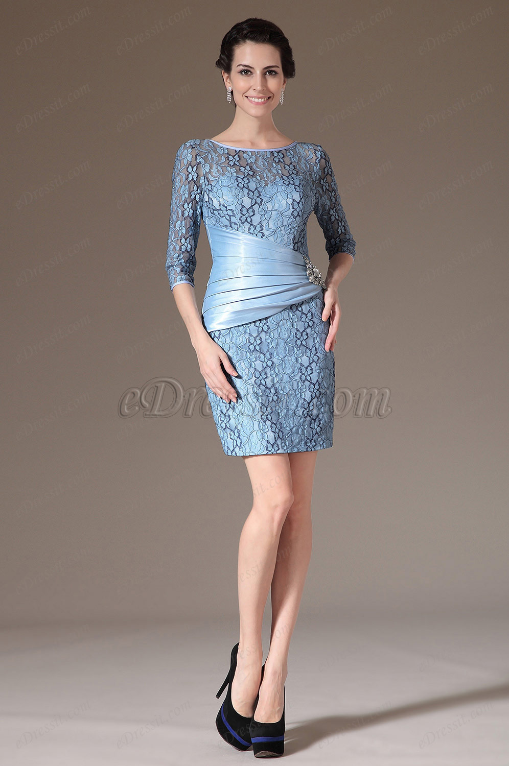 eDressit Gorgeous Blue Sleeves Mother of the Bride Dress (26144932)