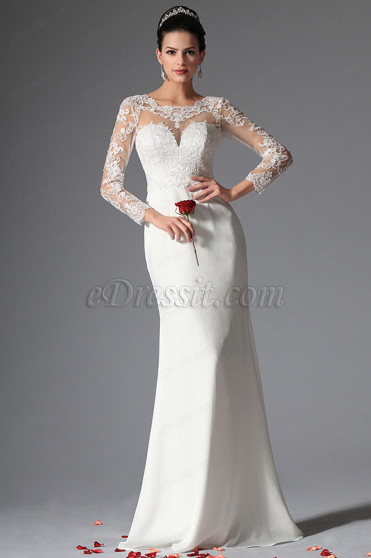 Белое вечернее платье с V-образным вырезом - Ever-Pretty Россия