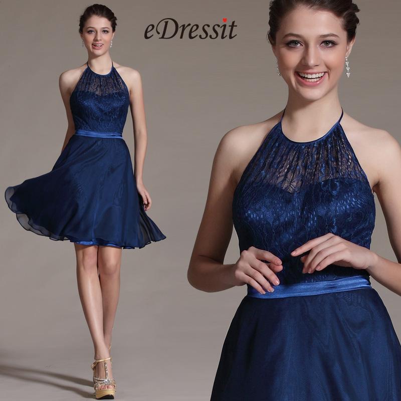 Navy Blue Halter Cocktail Dress Bridesmaid Dress (C07140405)