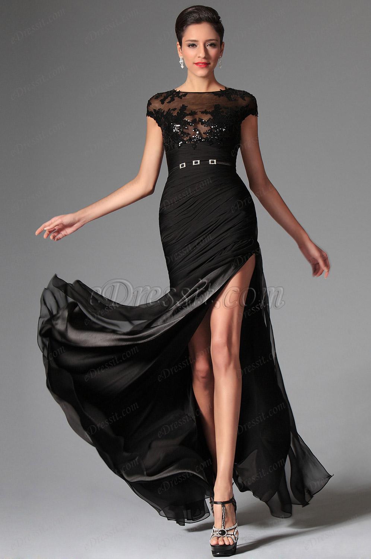 Модели черных вечерних платьев фото