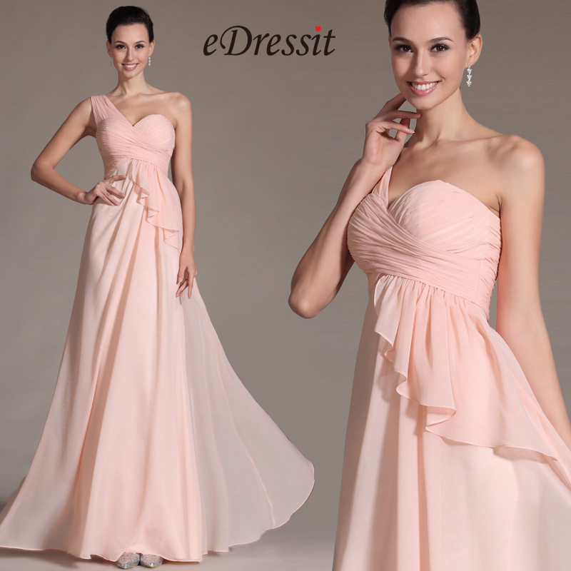 2014 Новое Простое Розовое с Одной Бретелькой Платье для невесты (C07141101)