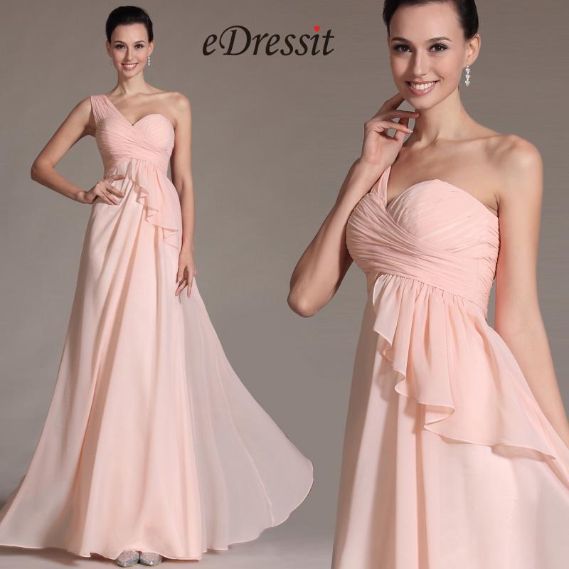 Simple Pink One Shoulder Bridesmaid Dress (C07141101)