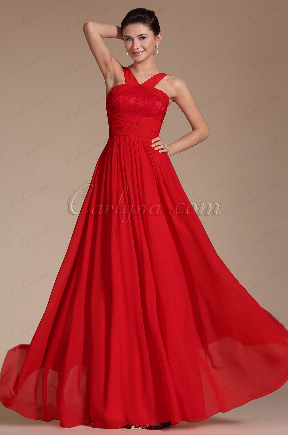Red Straps A-line Evening Dress Bridesmaid Dress (C00144302)