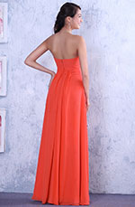 Graceful Coral Crisscross Bust Evening Dress Bridesmaid Dress (00111657)