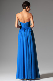 Stunning Strapless Ruched Blue Evening Dress formal Gown (00148505)