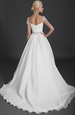 eDressit Cap Lace Sleeves Beaded Wedding Gown (01120407)