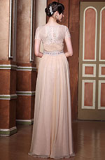Graceful Sleeves Illusion Neck Evening Dress Formal Gown (01140801)
