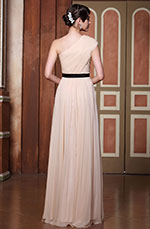 Pleated One Shoulder  Evening Gown Bridesmaid Dress (02131101)