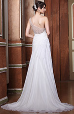 One Shoulder Sheer Beaded Back Wedding Dress Bridal Gown (02133107)