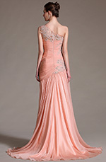 eDressit 2014 New Elegant Pink One Shoulder Lace Evening Dress Prom Gown (02144701)