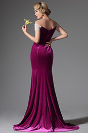 Elegant Off Shoulder V Neck Fuchsia Evening Dress Formal Gown (02146112)