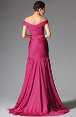 Robe de soirée épaules dénudées chic et sexy rose framboise (02147312)