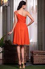 Robe de cocktail/demoiselle d'honneur asymétrique orange taille empire (04135010)