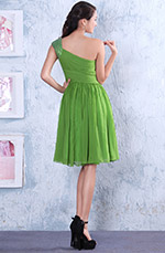 Green One Shoulder Ruched Cocktail Dress Party Dress (04135055)