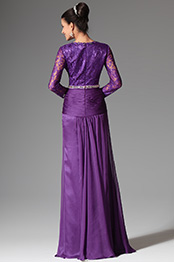 Noble Purple V Neck Lace Sleeves Mother of the Bride Dress (26147506)