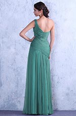 Light Green One Shoulder Fully Pleated Evening Dress Bridesmaid Dress (C00142604)