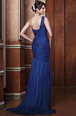 Graceful One Shoulder Pleated Evening Dress Prom Gown (C00144858)