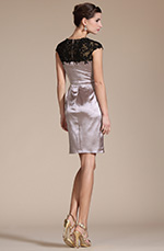 Carlyna 2014 New Beaded Black Lace Cocktail Dress/Mother of the Bride Dress/Day Dress (C04140246)