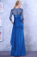 Sheer Overlace Asymmetric Evening Gown Formal Dress (C26124905)