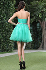Robe de cocktail en gaze verte d'eau sans bretelle (C35143304)