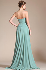 Carlyna 2014 New Light Green Strapless Beadings High Slit Prom Gown/Bridesmaid Dress (C36141004)