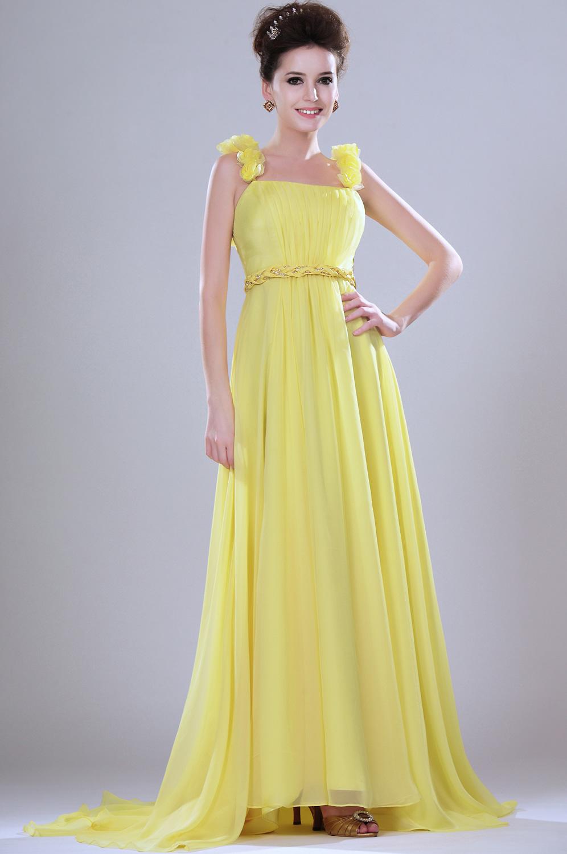 edressit leuchtend einladend gelb abendkleid mit blumen traeger 00113103. Black Bedroom Furniture Sets. Home Design Ideas