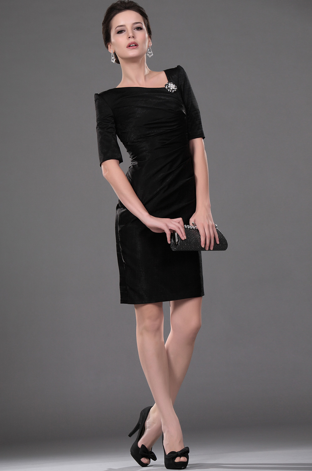 Edressit New Style Black Pleated Office Dress Cocktail