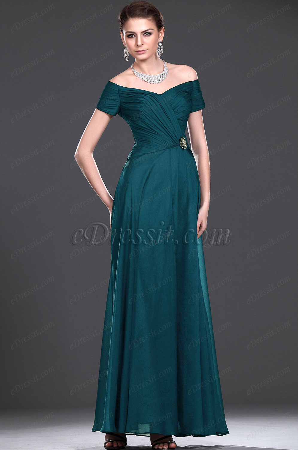 Edressit New V Neck Off Shoulder Mother Of The Bride Dress